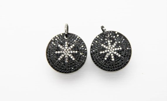 Black CZ Micro Pave 30mm  Disc Pendant with CZ Bail
