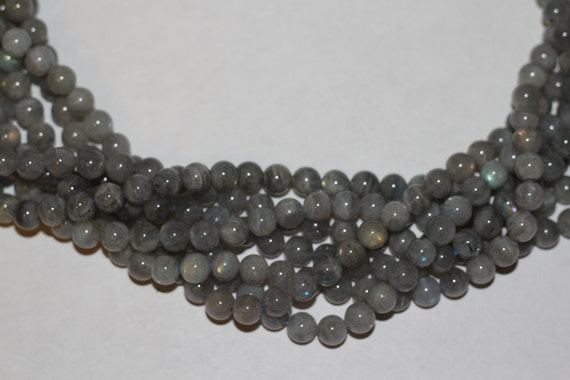 "Labradorite 10mm smooth round beads 16"" length strand"