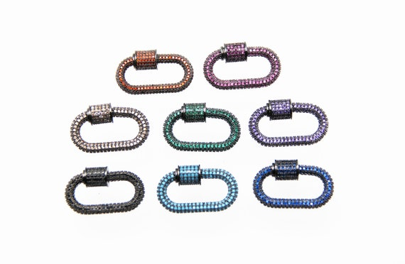 CZ Micro Pave 16x32mm Oval Screw Clasp Carabiner