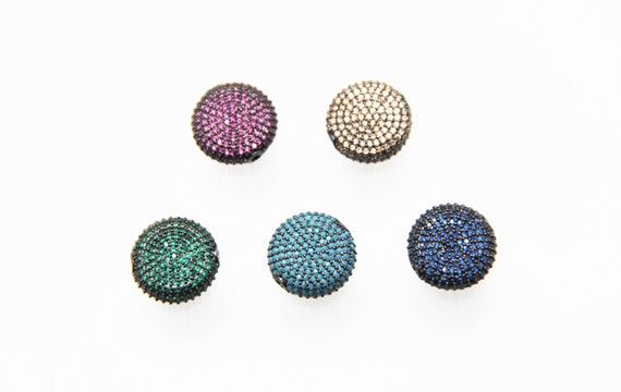 Color CZ Micro Pave 16mm Coin  Beads