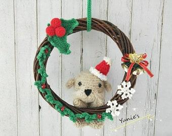Christmas Wreath, Christmas Decoration, Xmas Wreath amigurumi , Bichon Frise, Crochet Bichon Frise Amigurumi