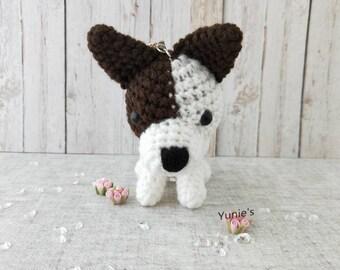 Crochet Dog amigurumi keychain, Crochet Amigurumi, Amigurumi dog with swivel key clasp