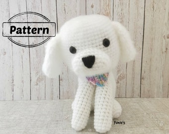 Crochet dog pattern : Bichon Frise , crochet amigurumi, amigurumi dog