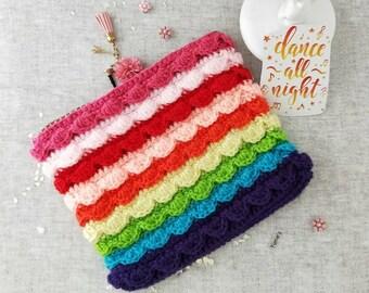 Crochet Rainbow ruffle pouch, Crochet rainbow Bag , gift for her , Rainbow Crochet purse