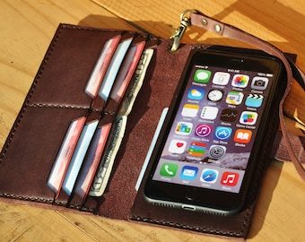 Leather Iphone X Plus Wallet Case Wristlet Iphone 8 Plus Case Etsy