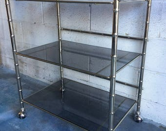 bamboo bar cart. Hollywood Regency Modern Faux Bamboo Vintage Bar Cart -tinted Black Glass