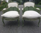 Exquisite French Louis XV goosedown arm chairs