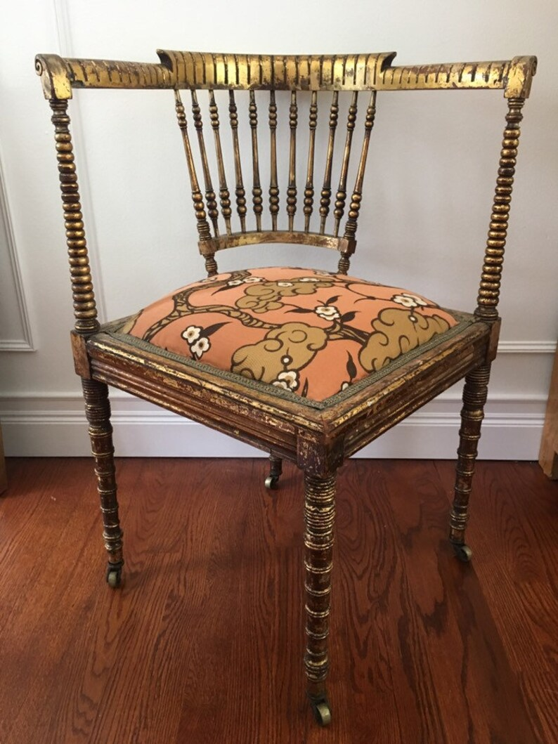 Victorian Era Gilded Corner Chair With Floral Uphokstery
