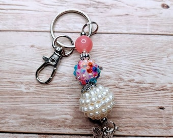 Beaded Keychains, Bubblegum beads, Keychains, Bubblegum Beaded Keychains