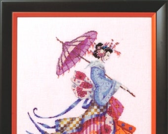 MD153 MISS CHERRY BLOSSOM Complete Cross Stitch Materials with Aida