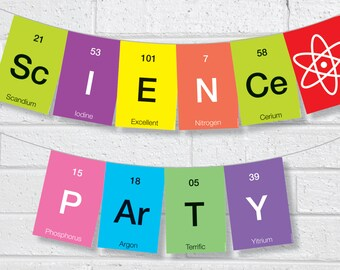 Science Bunting Instant Printable - Instant Download DIY Printable Science Party Bunting / Banner Pennant Garland Bunting