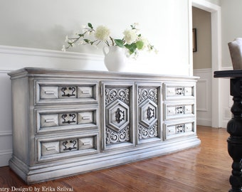 Massive Vintage Mid Century UNITED FURNITURE Hand Painted French Country  Design Weathered Gray Antique White Buffet Sideboard Media Console