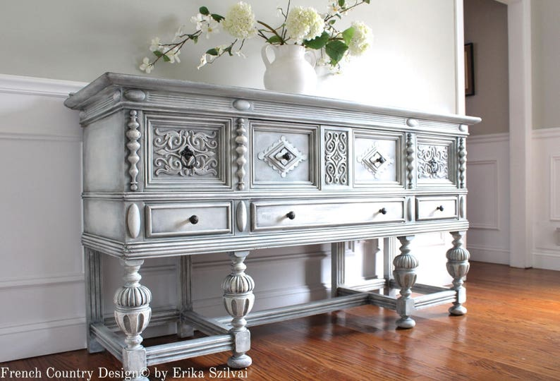 SOLD!!!!   Antique ROCKFORD FURNITURE 1920 30u0027s Jacobean Style Hand Painted  French Country Design Weathered Gray Buffet Sideboard