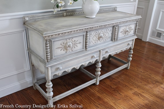 Magnificent Rare Antique 1920 30S Solid Oak Jacobean Style Hand Painted French Country Design Weathered White Gray Buffet Sideboard Media Console Ibusinesslaw Wood Chair Design Ideas Ibusinesslaworg