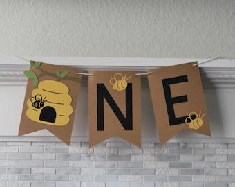 Bee Theme Cake Smash Banner, High Chair Banner, Cake Smash Backdrop, Bee First Birthday