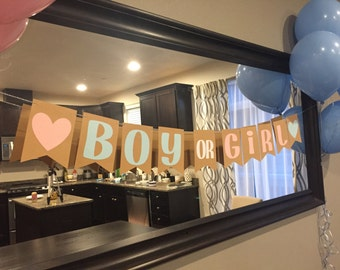 Gender Reveal Party Banner, Baby Shower Banner, Boy or Girl