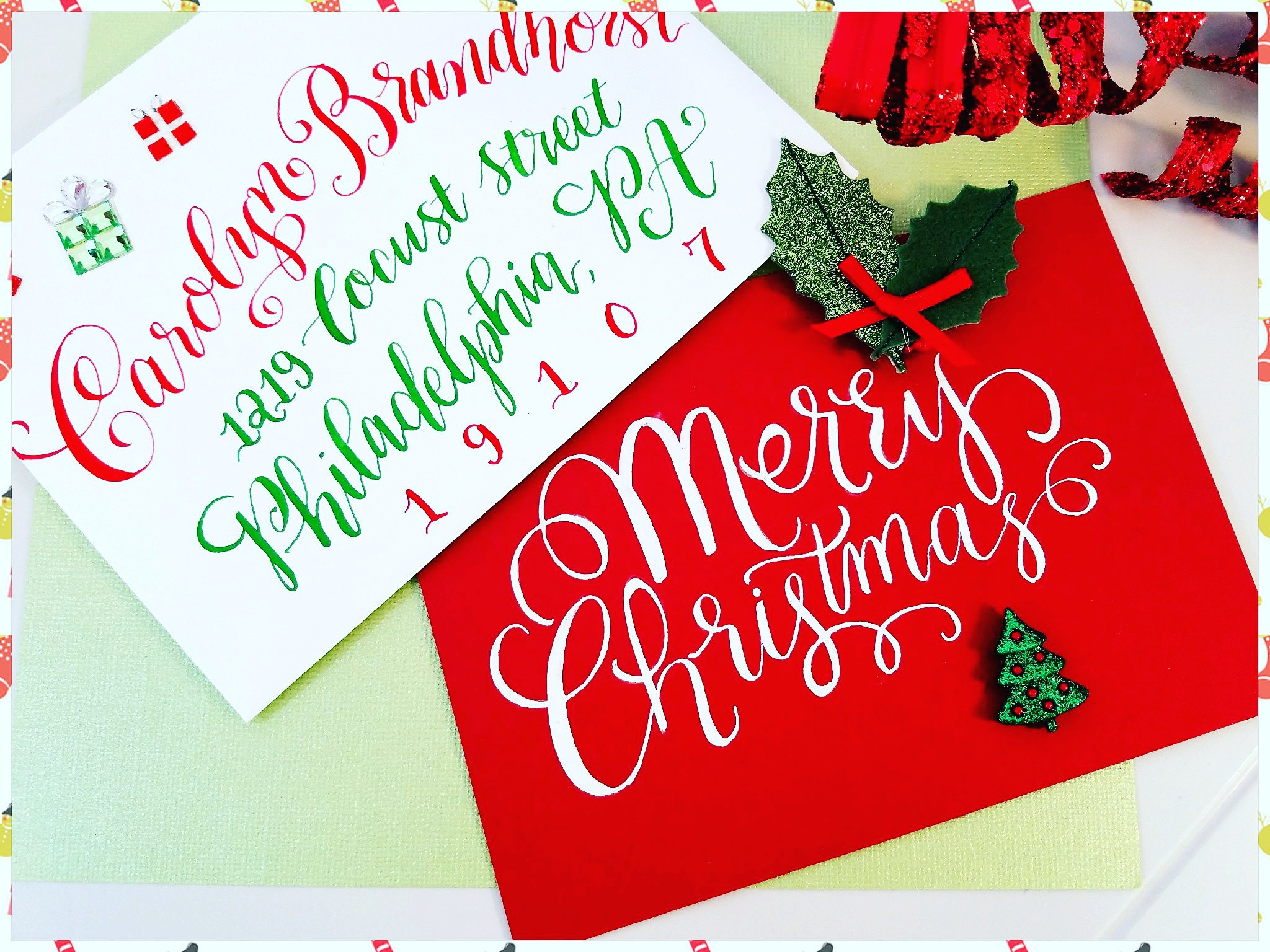 Calligraphy Christmas Card Custom And Unique Handwritten Etsy