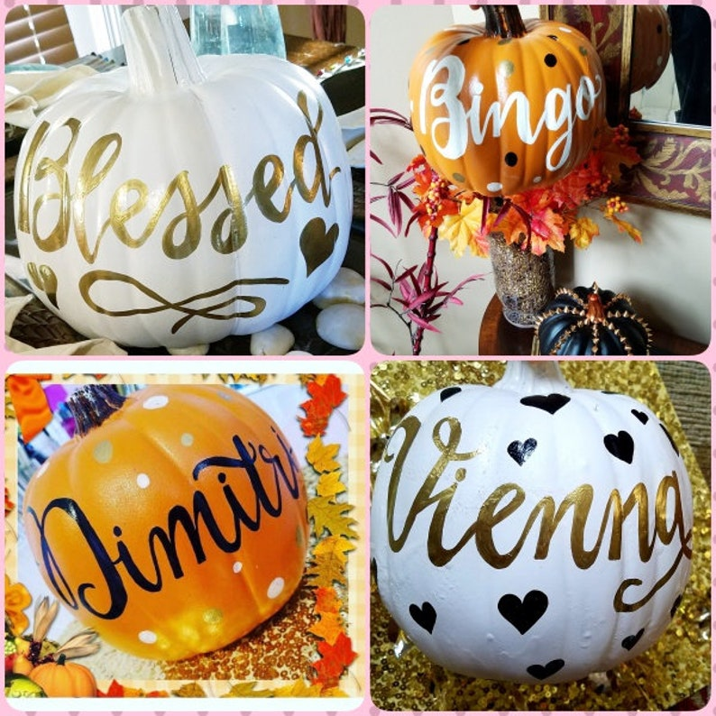 Calligraphy Pumpkin Personalized Fall Pumpkin Craft image 0