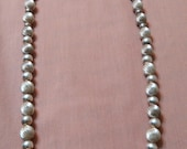 Long Sterling Silver Native American Bead Necklace Beautiful
