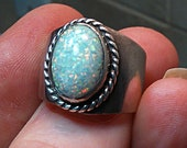 Sterling Silver Pinfire White Base Opal Native American Ring Size 7