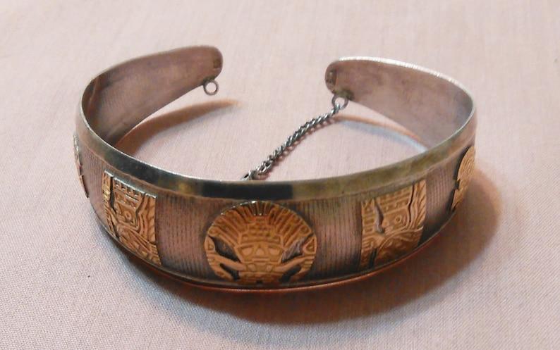 18 Karat Gold And Sterling Silver Ladies Peruvian Viracocha Cuff Bracelet