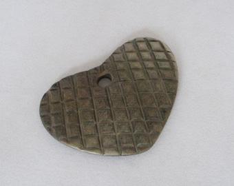 vintage heart pendant, necklace piece, vintage, large heart pendant, wood?, burnt horn?, approx. 2-1/4 inch heart