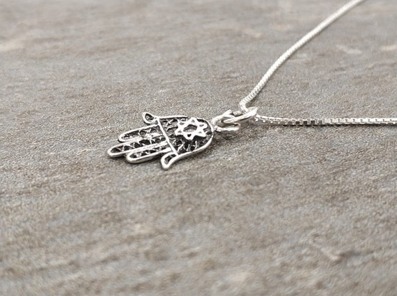Mid-size 925 Hamsa Necklace with Hebrew word Chai Sterling Silver Spiritual Birthday Batmitzvah Gift for Unisex Dainty Pendant Classic