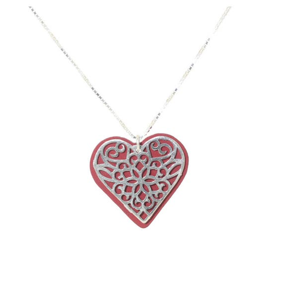 Sterling Silver Heart Chain Necklace Colorful Background Unique Love