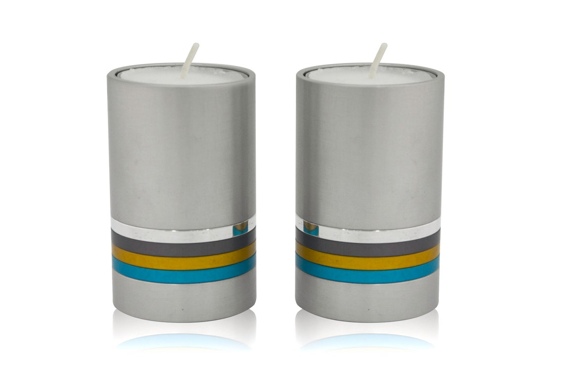 Modern Aluminum Candle Holders Colorful Rings
