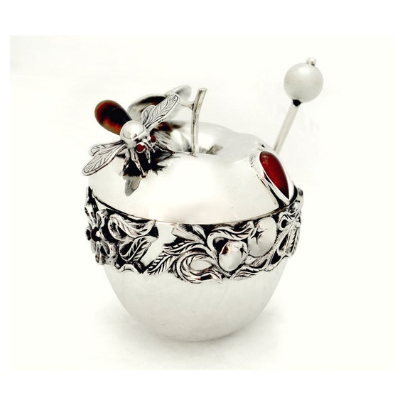 sterling silver honey dish honey spoon bees carnelian apples trees design engraved Christmas gift