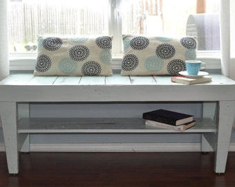 Handmade White Wood Bench