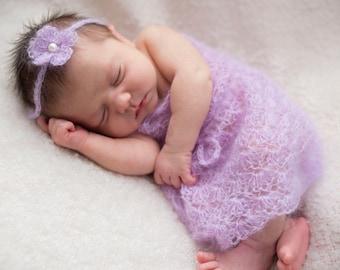 Pattern- Crochet Newborn Baby Girl Mohair Lace Shell Dress with Flower Tie Back Headband Photo Prop, Crochet Newborn Photography Outfit