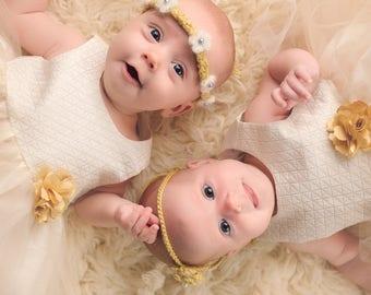 Pattern- Crochet Newborn Baby Girl Flower Tie Back Headband Photo Prop, Newborn to 6 Months Headband with Ties, Twin Girls Headband