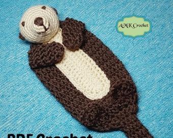 PATTERN Crochet Baby Sea Otter Lovey Security Blanket, Sea Otter Buddy Blanket Plush Toy Crochet Pattern Instant Download PDF
