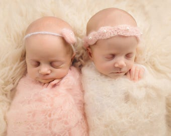 Pattern- Crochet Newborn Twin Baby Girls Mohair Lace Shells and Pearls Tie Back Headband, Flower Headband and Photography Wrap, PDF Download