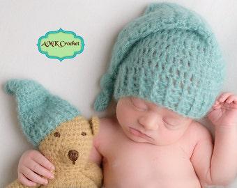 Pattern - Crochet Newborn Sleepy Hat and Matching Amigurumi Bear Plush Photo Prop Pattern, Newborn Photography Baby Boy Knotted Stocking Hat