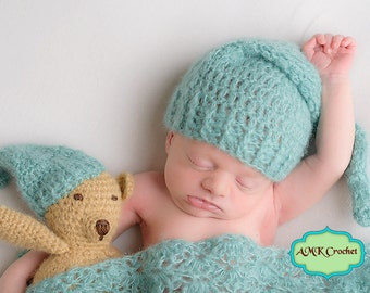 Pattern - Crochet Newborn Pattern Pack: Sleepy Stockng Hat, Matching Amigurumi Bear Plush, and Wrap Photo Prop Pattern, Newborn Photography