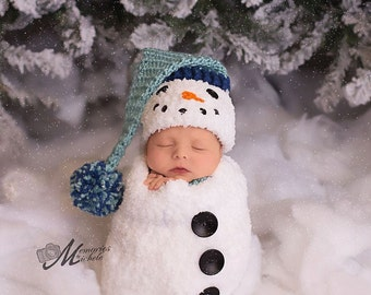 Pattern - Crochet Newborn Snowman Hat, Scarf, and Cocoon Set, Crochet Newborn Snowman Photo Prop, Babies First Christmas Crochet Pattern