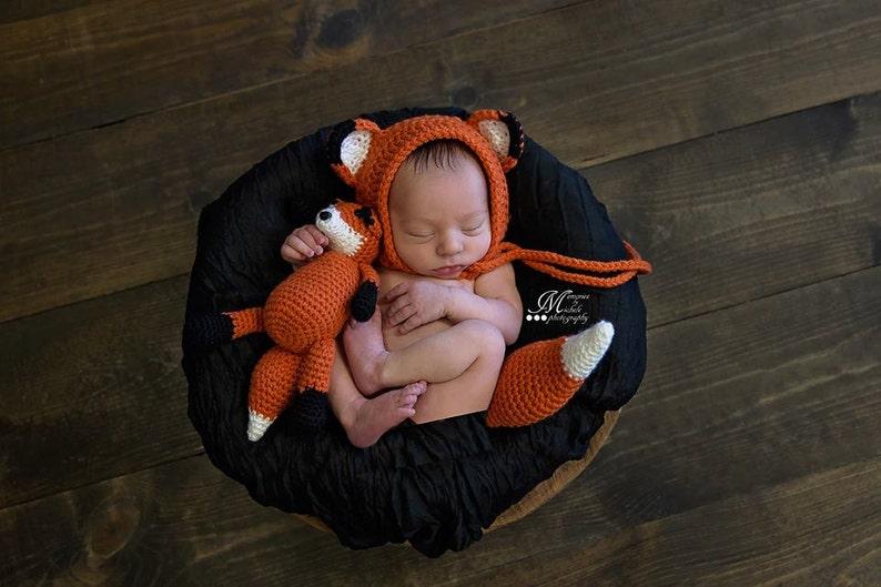 0b3459e68 Crochet Pattern - Newborn Hat and Unattached Tail with Matching Amigurumi  Fox Plush, Crochet Newborn Fox Photo Prop, Newborn Bonnet Fox Hat