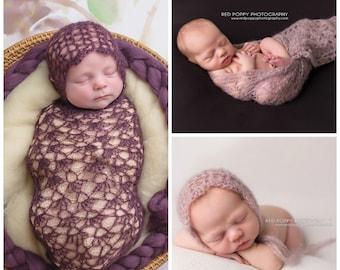 Pattern- Crochet Newborn Baby Dainty Lace Bonnet Hat and Photography Wrap, Crochet Newborn Baby Mohair Silk Blend Photography Set Pattern
