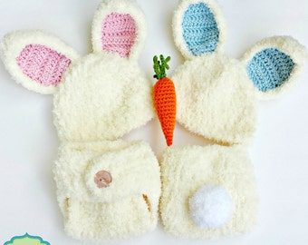PDF Crochet Pattern - Newborn Fuzzy Bunny Hat and Diaper Cover Outfit with Amigurumi Carrot, Easter Baby Girl and Baby Boy Bunny Twin Outfit