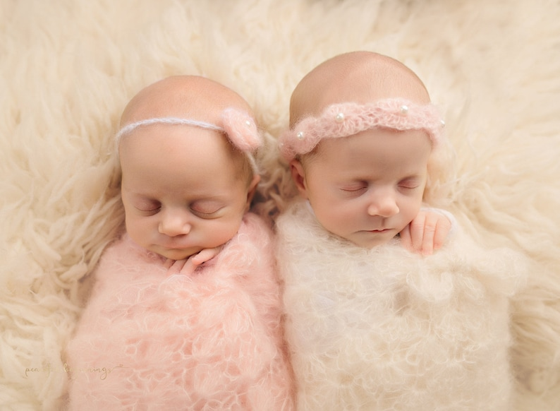 Pattern Crochet Newborn Twin Baby Girls Mohair Lace Shells image 0