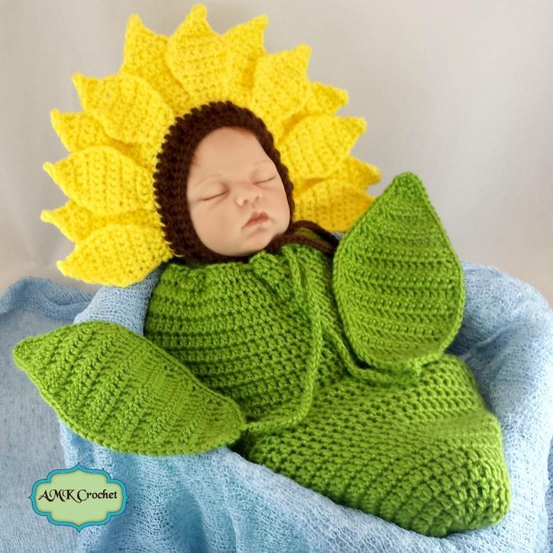 eb644581397 Pattern Crochet Newborn Sunflower Bonnet Hat with Cocoon