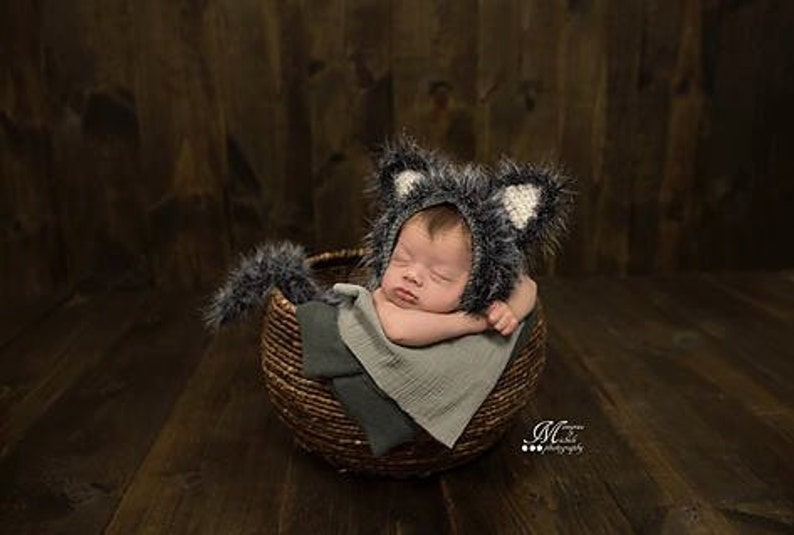 54045b60353 CROCHET PATTERN Newborn Wolf Hat and Unattached Tail Photo