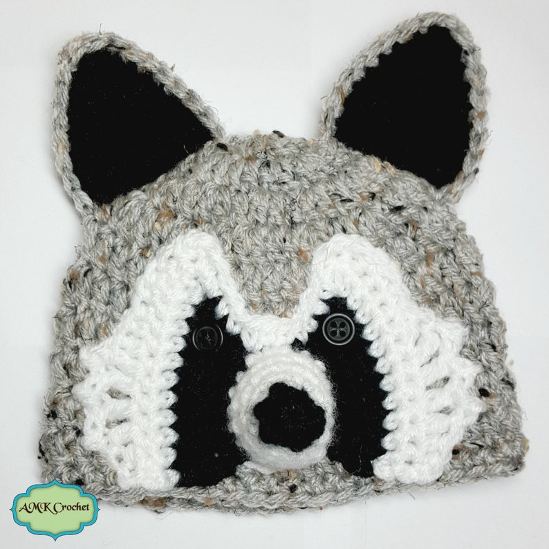 7a2da567863 PDF Crochet Pattern for Newborn Raccoon Hat and Tail Photo