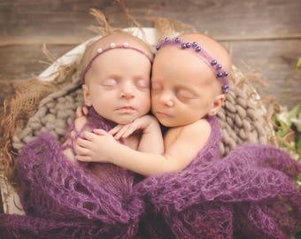 Pattern- Crochet Newborn Baby Girl Lace Headband and Butterly Photography Wrap, Crochet Newborn Twin Girls Mohair Silk Blend Photo Prop
