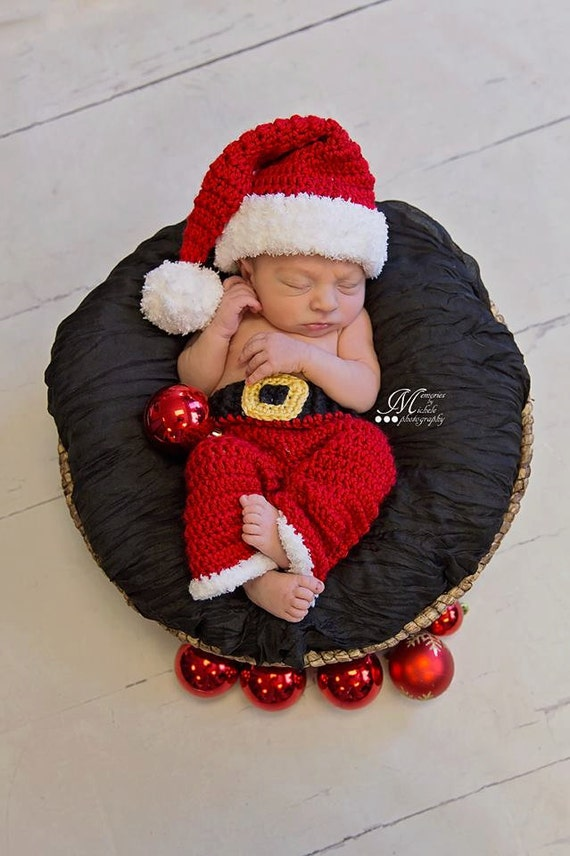 Instant Download Crochet Newborn Christmas Santa Hat and Pants | Etsy