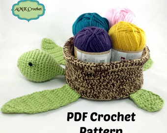 PATTERN Crochet Sea Turtle Basket, Baby Room Sea Turtle Plush Toy Basket, Crochet Pattern Instant Download PDF File