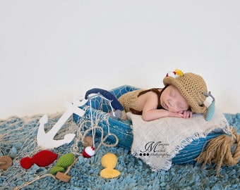 CROCHET PATTERN Crochet Newborn Fisherman Hat and Suspenders with Fishing Pole and Amigurumi Fish, Baby Photo Prop Outfit, Halloween Costume