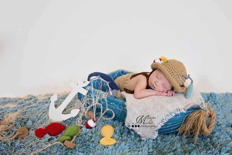 d92728c5a CROCHET PATTERN Crochet Newborn Fisherman Hat and Suspenders with Fishing  Pole and Amigurumi Fish, Baby Photo Prop Outfit, Halloween Costume